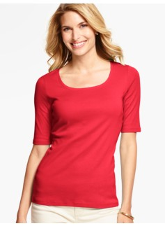 Pima Cotton Rounded Square-Neck Tee