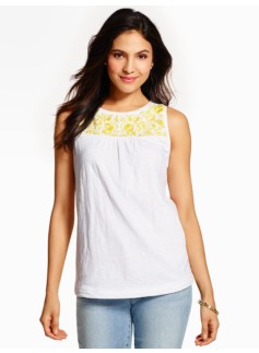Flower-Embroidered Tank