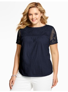 Crocheted-Lace Topped Tee