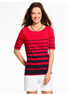 Transition Stripes Elbow-Sleeve Top