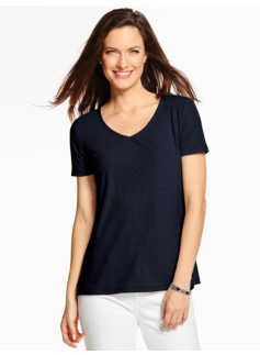 Mixed-Media V-Neck Tee
