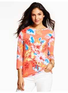 Three-Quarter Sleeve Bateau Tee - Vibrant Flowers