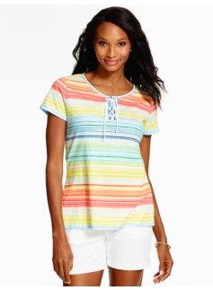 Tie-Front Tee-Watercolor Stripes