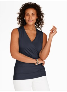 Ruched Surplice-Wrap Top
