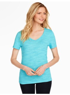 V-Neck Tee - Malibu & Turquoise Space-Dyed