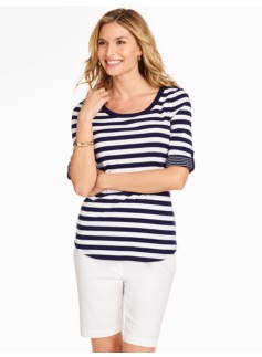 Roll-Tab Sleeve Bateau - Hancock Stripes