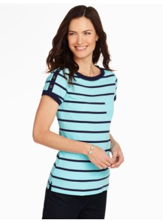 Shoulder-Button Pocket Tee - Stripes