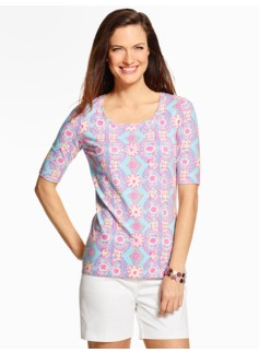 The Perfect Tee - Mediterranean Floral Tiles Rounded Square-Neck