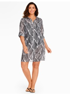 Womans Block Leaf Shirt Cover-Up