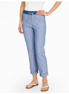 Easy Drawstring Roll-Cuff Pants - Chambray