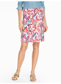 Cotton A-Line Skirt - Folk Paisley