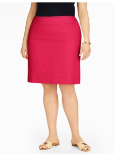 Cotton A-Line Skirt - Basket-Weave