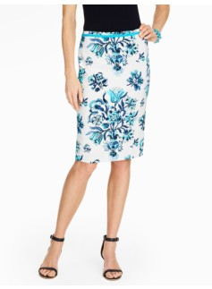 Etched Floral Pencil Skirt