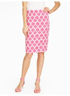 Cotton Pencil Skirt - Moroccan Tiles Jacquard