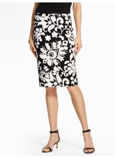 Bold Flower Paisley Pencil Skirt