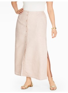 Madison Linen Side-Slit Maxi Skirt