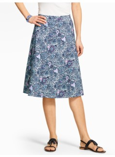 Casual Jersey Skirt - Woodblock Paisley