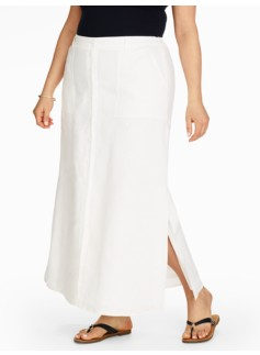 Madison Heavy-Linen Side-Slit Maxi Skirt - White