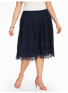 Eyelet & Lace Pleated Skirt