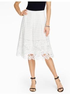 Eyelet & Lace Pleated Skirt
