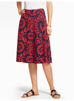 Jersey-Knit Skirt - Flower Medallions