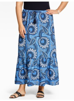 Ruffled Maxi Skirt - Patchwork Paisley