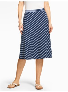 Casual Jersey Skirt - Bias-Stripe