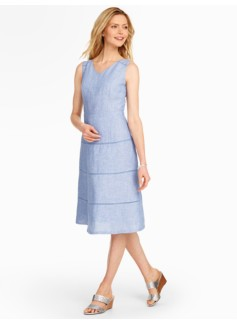 Lace-Trimmed Linen Dress