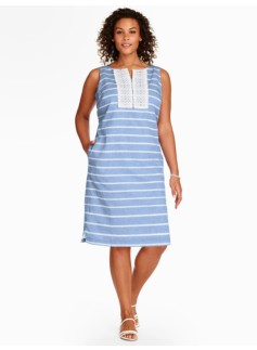 Lace-Trimmed Stripe Shift