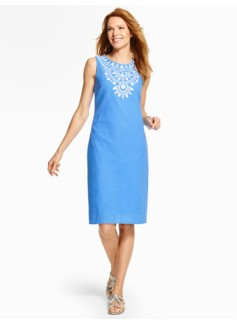 Embroidered Gauze Shift Dress