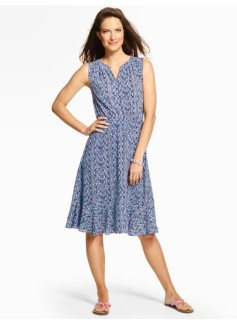 Lattice Paisley Flounced Dress