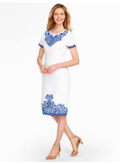 Embroidered Linen Sheath