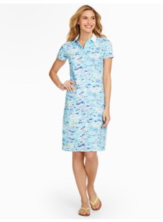Scenic Santorini Piqu� Polo Dress