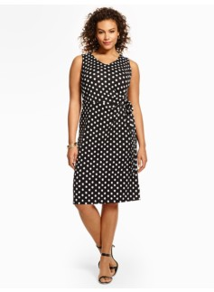 City Jersey Side-Tie Dress - Polka Dots