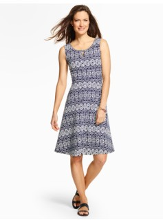 Edie Geo-Star Lace-Print Dress