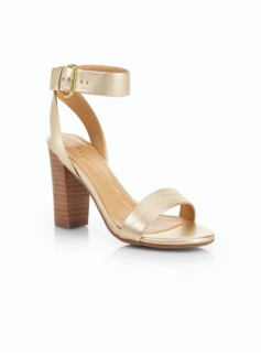 Bettie Ankle-Strap Block-Heel City Sandals-Metallic