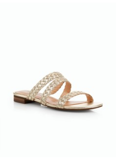 Lamar Braid Sandal Slides - Metallic