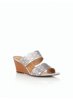Royce Vachetta Leather Perforated Wedge Slides - Metallic