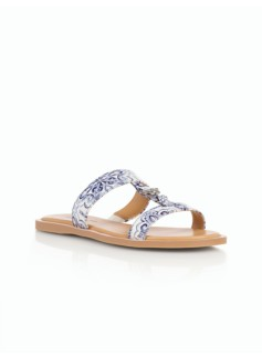 Lamar Vachetta Leather H-Strap Slides - Ornate Tiles