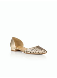 Edison Vachetta Leather Perforated D'Orsay Flats - Metallic