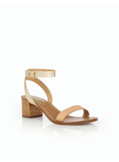 Mimi Bamboo-Heel Sandals - Natural/Gold