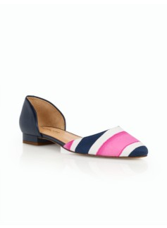 Edison Brushed Twill D'Orsay Flats - Bold Stripes