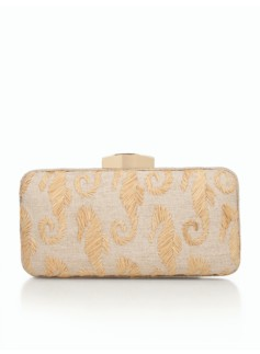 Embroidered Linen Minaudiere