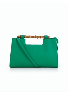 Bamboo-Handle Pebbled-Leather Bag