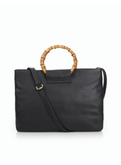 Bamboo-Handle Pebbled-Leather Satchel