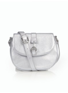 Pebbled Leather Toggle Crossbody Bag - Silver Metallic