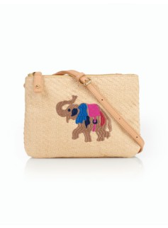 Elephant-Embroidered Straw Crossbody Bag
