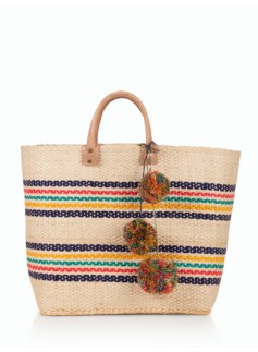 Multi Stripes Basket Tote
