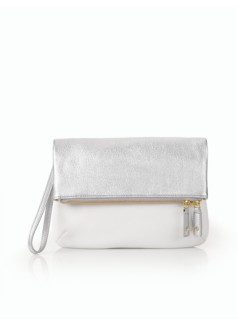 Pebbled Leather Double-Zip Foldover Clutch