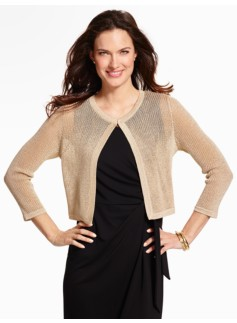 Metallic Pointelle Dress Shrug
